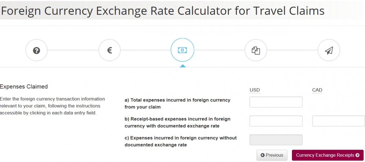 Foreign Currency Exchange Rate Calculator screenshot - Page 3 - Expenses Claimed