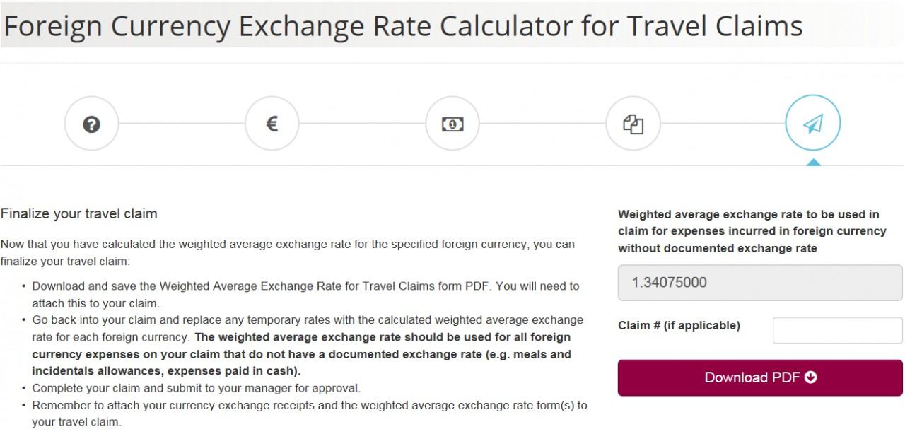 Foreign Currency Exchange Rate Calculator screenshot - Page 5 - Finalize Your Claim