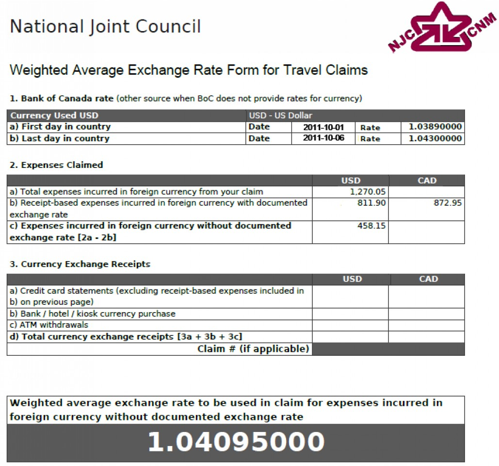 Weighted Average Exchange Rate Form showing rate of 1.04095000