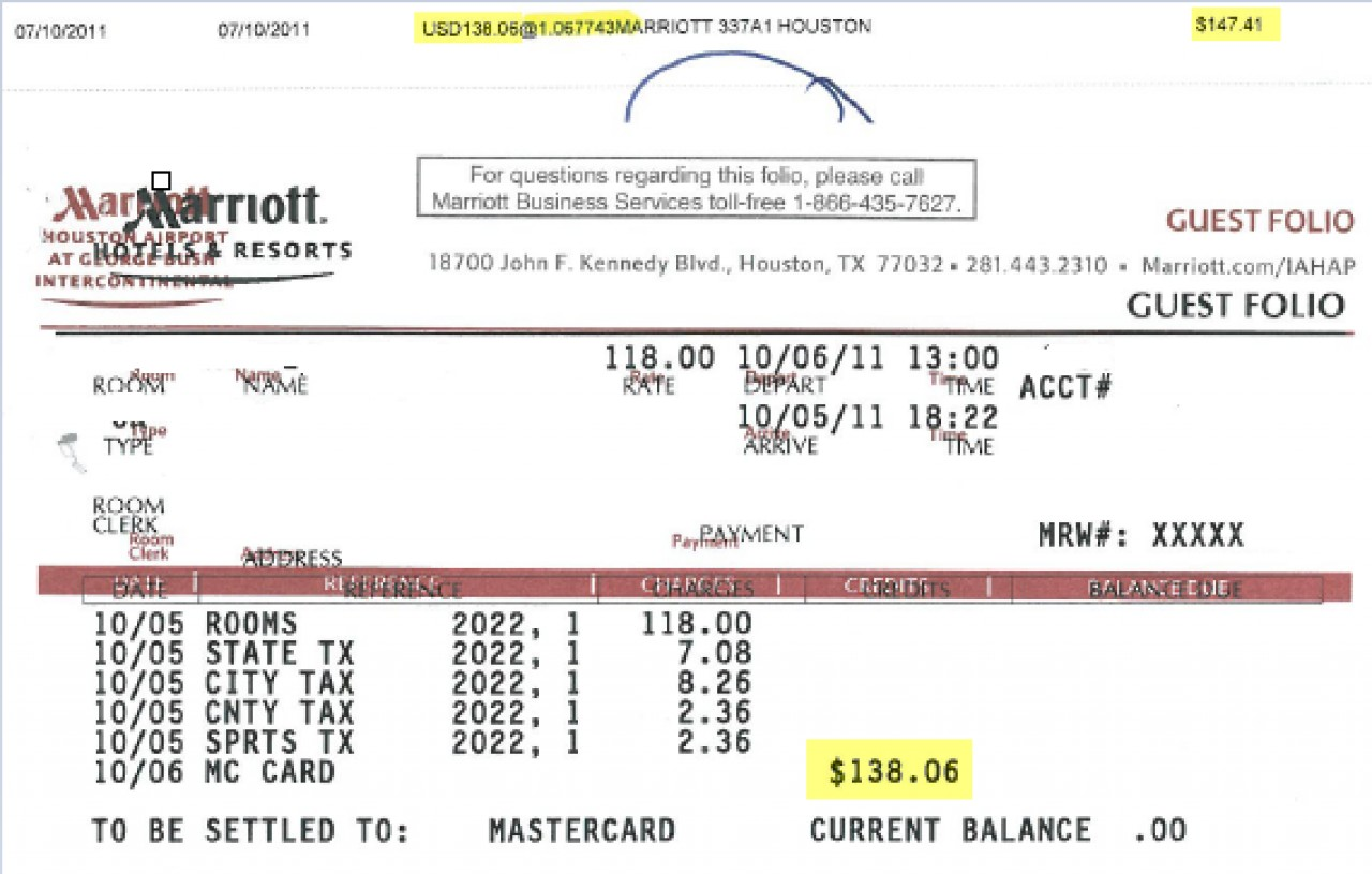 Hotel receipt indicating MasterCard credit of $138.06 at exchange rate of USD 1.067743 for a total of $147.41