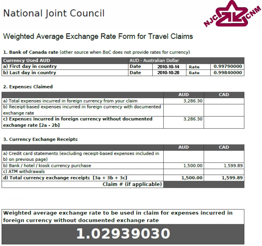 Weighted Average Exchange Rate Form showing a rate of 1.02939030