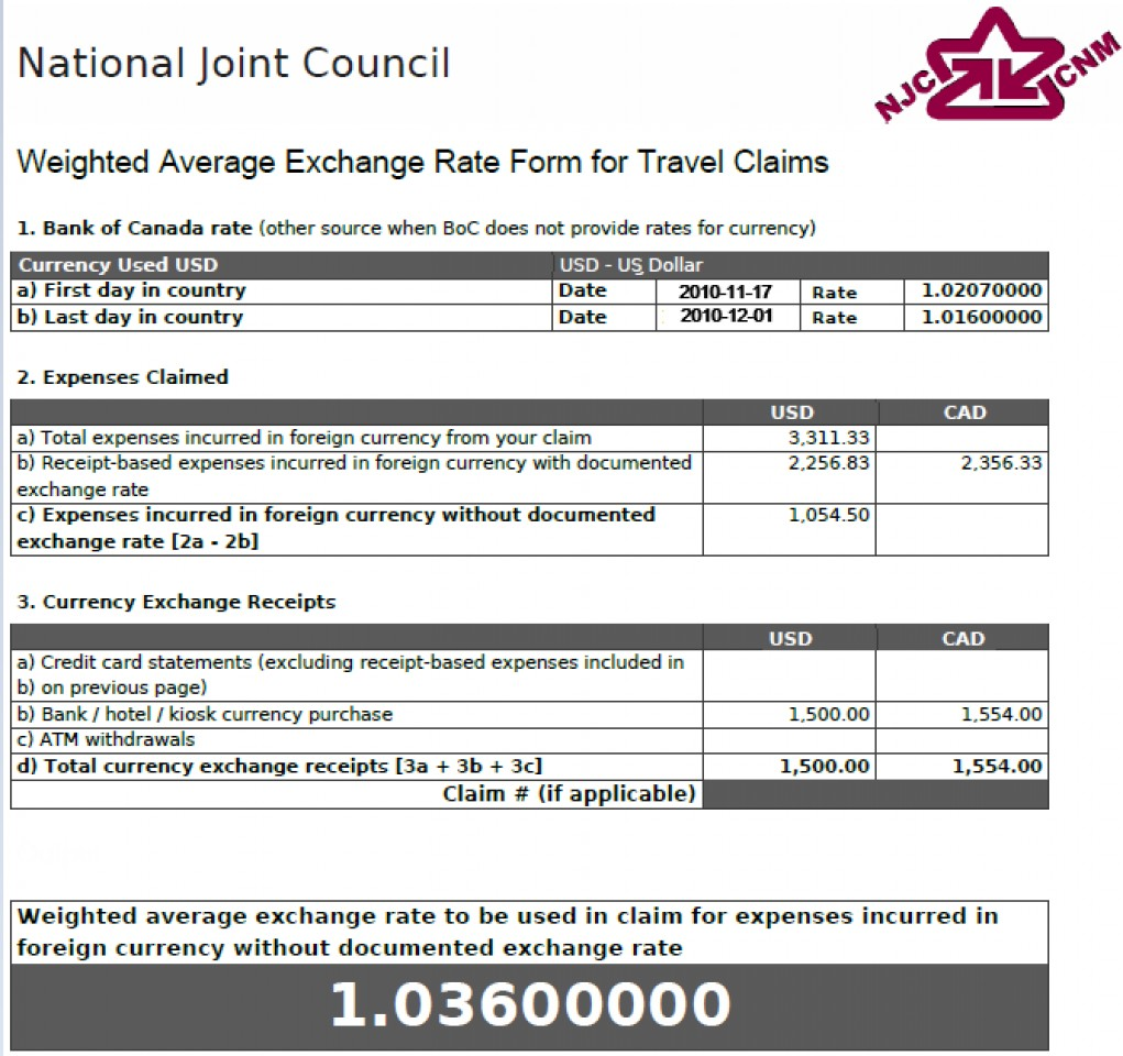 Weighted Average Exchange Rate Form showing a rate of 1.03600000