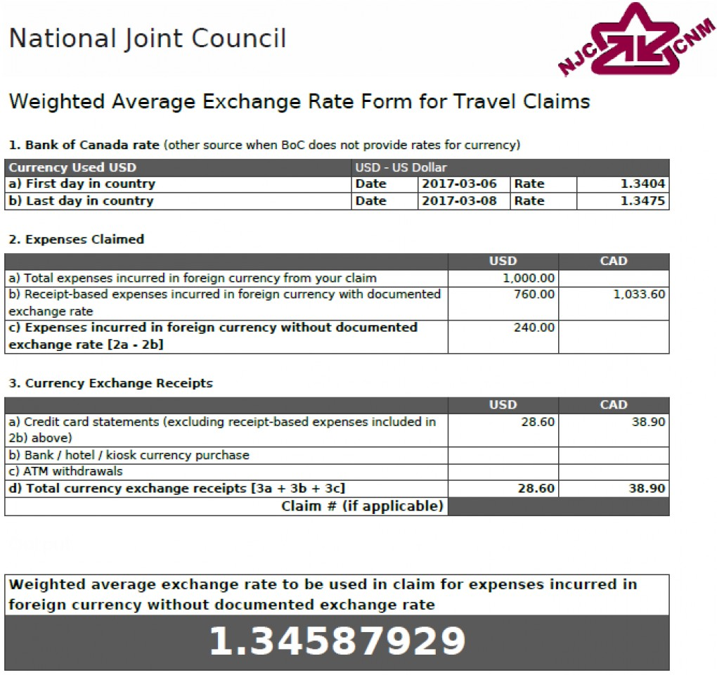 Weighted Average Exchange Rate Form - With Meal on Credit Card showing a rate of 1.34587929